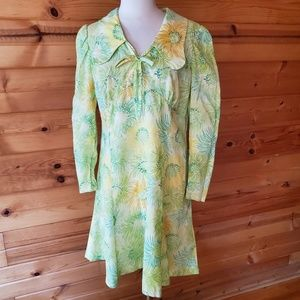 1960s Unlabeled Multi-Color Floral Polyester Dress